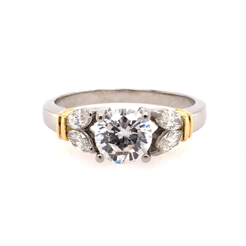 B&C Collections Platinum and 18k Yellow Gold Engagement Ring