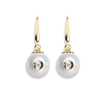 Diamond Embedded Fresh Water Pearl Earrings