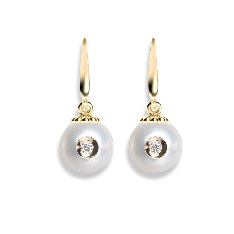 Galatea Diamond Embedded Fresh Water Pearl Earrings