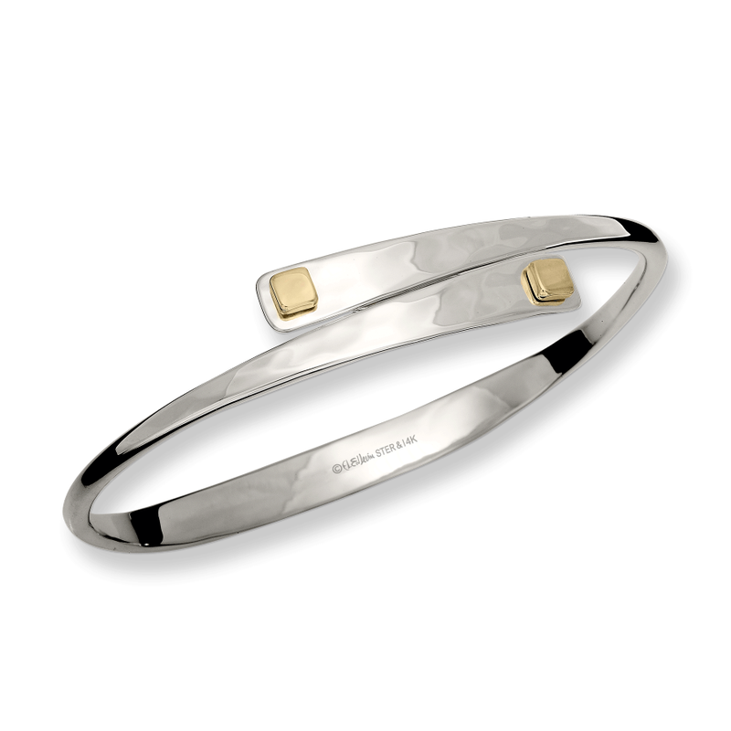 E. L. Designs IN-STORE Collection S/S and 14K Yellow Gold Square Swing Bracelet