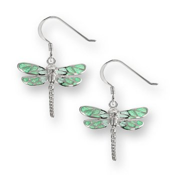 Dangling Green Dragonfly Earrings