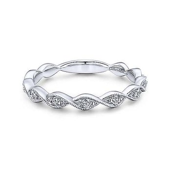 Twisted Diamond Stackable Ring