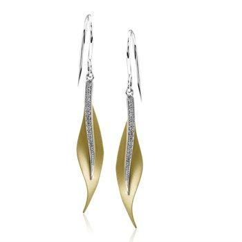18KTT Leaf Earrings