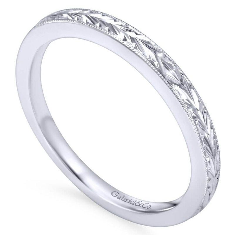 Gabriel & Co. -  IN-STORE COLLECTION 14K White Gold Engraved Band