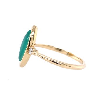 Chrysoprase & Diamond Ring