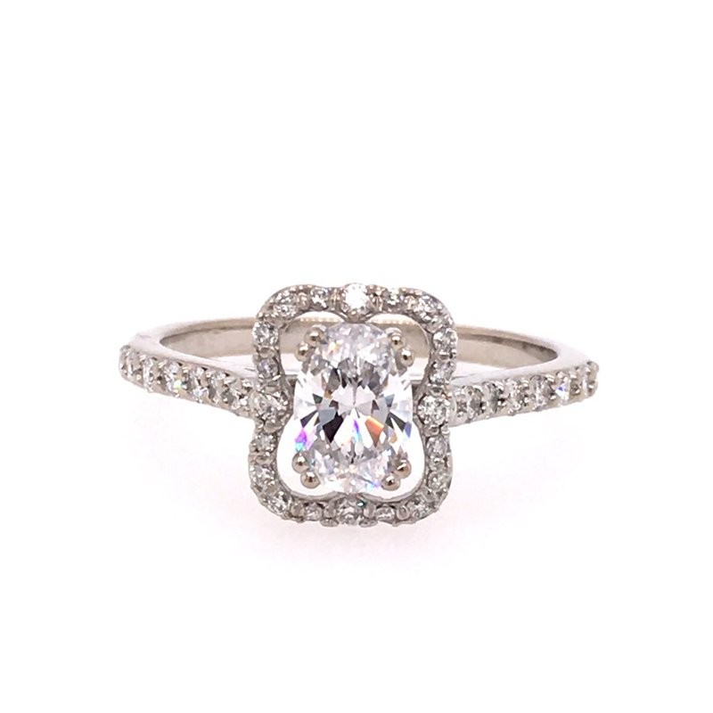 B&C Creations Scalloped Halo Engagement Ring