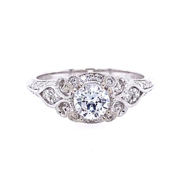 Vintage Style Halo Engagement Ring