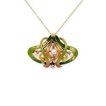 Art Nouveau Enamel and Diamond Brooch / Pendant