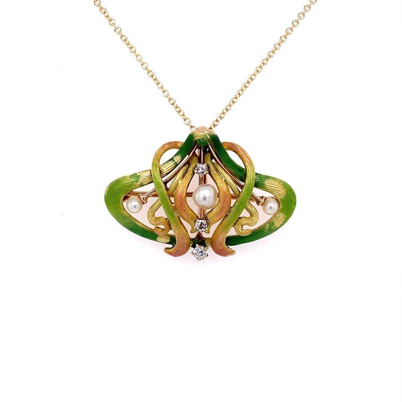 B&C Estate Collection Art Nouveau Enamel and Diamond Brooch / Pendant