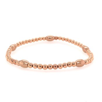Stretch 3mm Rose Gold Filled Pattern Bead Bracelet