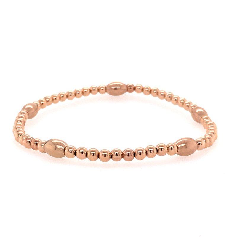 Karen Lazar Stretch 3mm Rose Gold Filled Pattern Bead Bracelet