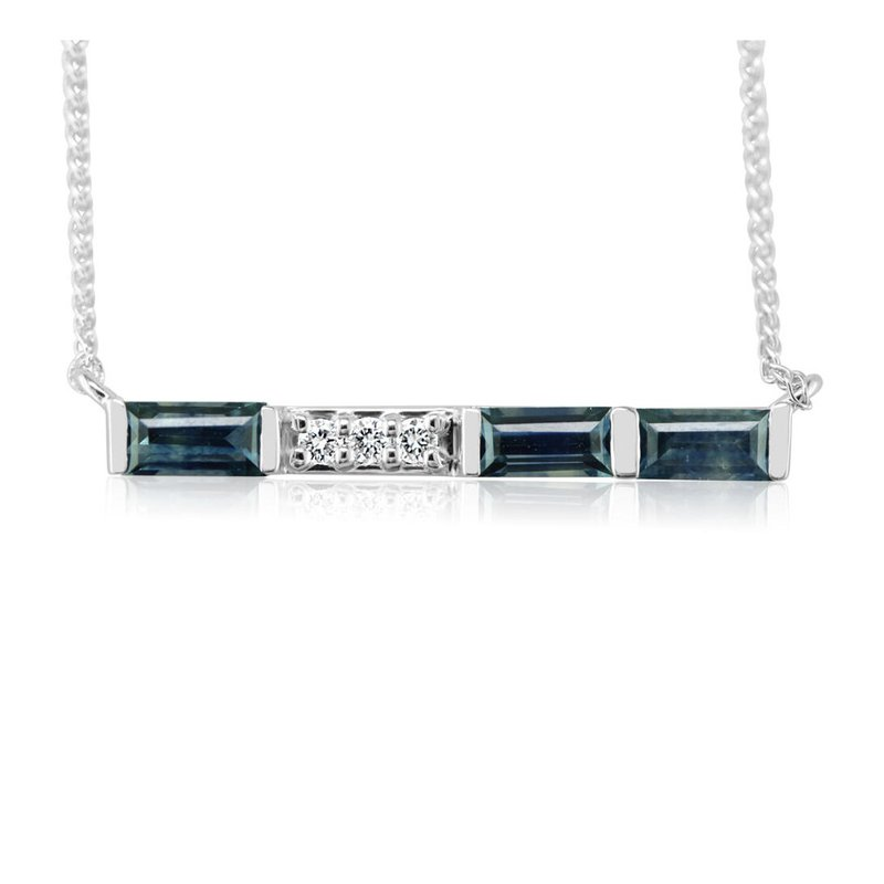 Parlé 14K White Montana Sapphire Bar Necklace