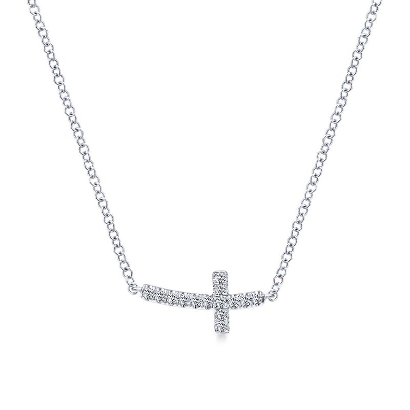 Gabriel & Co. -  IN-STORE COLLECTION Diamond Sideways Cross Necklace