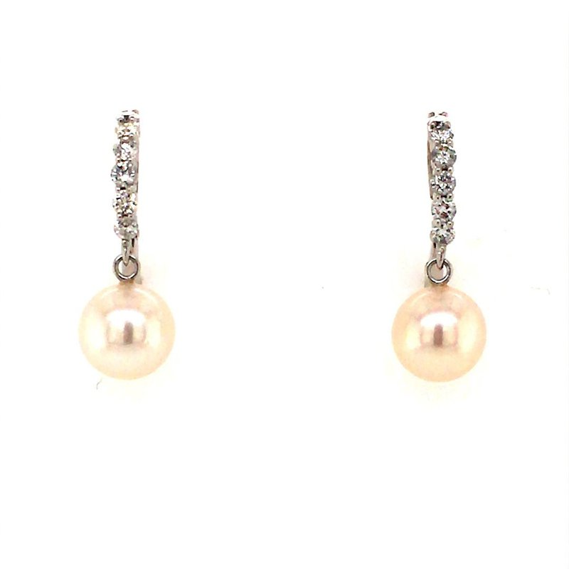 B&C Creations Pearl and Diamond Drop Earrings