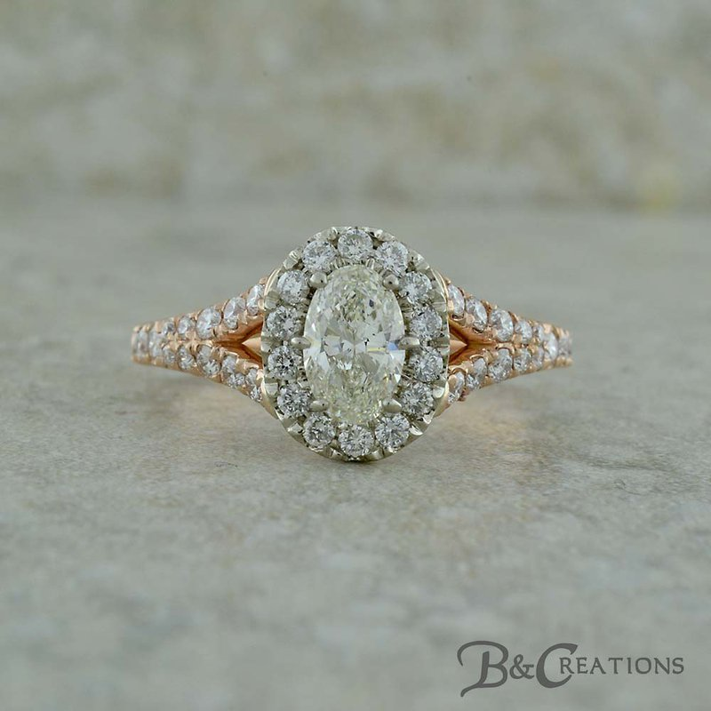 B&C Creations Two Tone Oval Engagement Ring