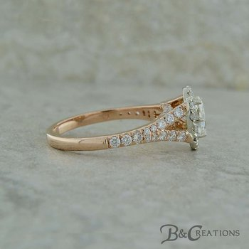 Two Tone Oval Engagement Ring