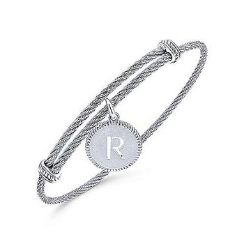 """SS Initial """"R"""" Bangle"""