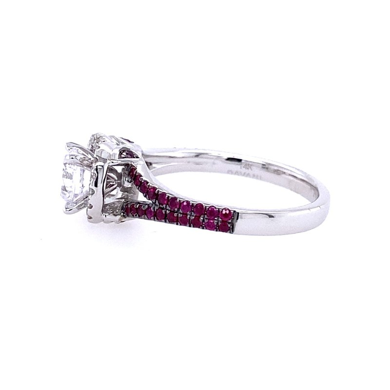 B&C Collections White Gold Diamond and Ruby Halo Style Engagment Ring