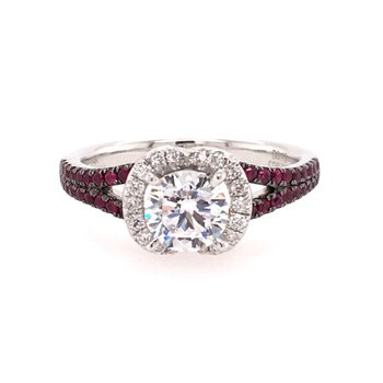 White Gold Diamond and Ruby Halo Style Engagment Ring