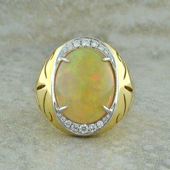 Ethiopian Opal & Diamond Ring