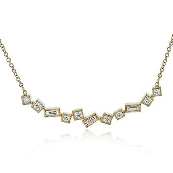 Baquette and Round Diamond Bar Necklace