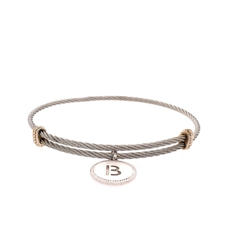 """Gabriel & Co. -  IN-STORE COLLECTION Initial """"B"""" Charm Bangle"""