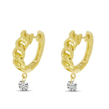 Pierced Diamond Huggie Earrings