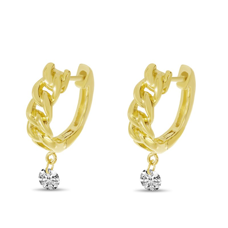 B&C Collections Pierced Diamond Huggie Earrings