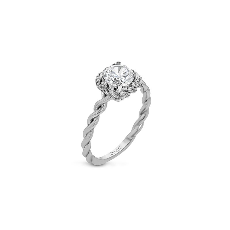 Simon G IN-STORE COLLECTION Twist Style Engagement Ring with Round Center