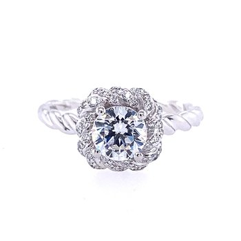 Twist Style Engagement Ring with Round Center