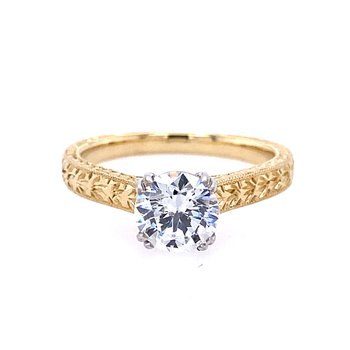14kt Yellow Hand Engraved Solitaire Engagement Ring