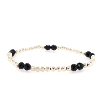 Stretch 3mm Sterling Silver and Black Spinel Bead Bracelet