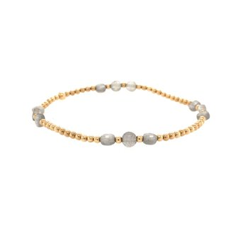 2mm Yellow Gold Filled and Labradorite Disc Bracelet