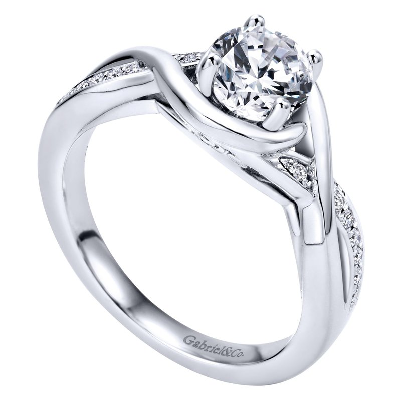 Gabriel & Co. -  IN-STORE COLLECTION 14K White Gold Round Twisted Diamond Engagement Ring