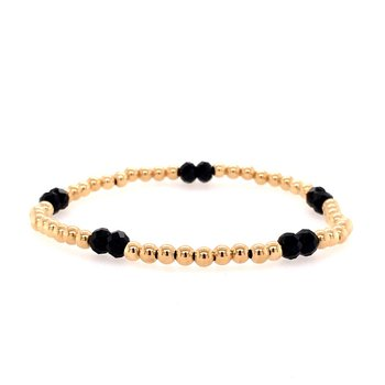 Stretch 3mm Yellow Gold Filled and Black Spinel Bead Bracelet