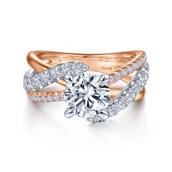 Two Toned Twist Engagement Ring