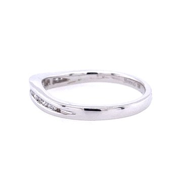 White Gold Channel Set Curved Diamond Band
