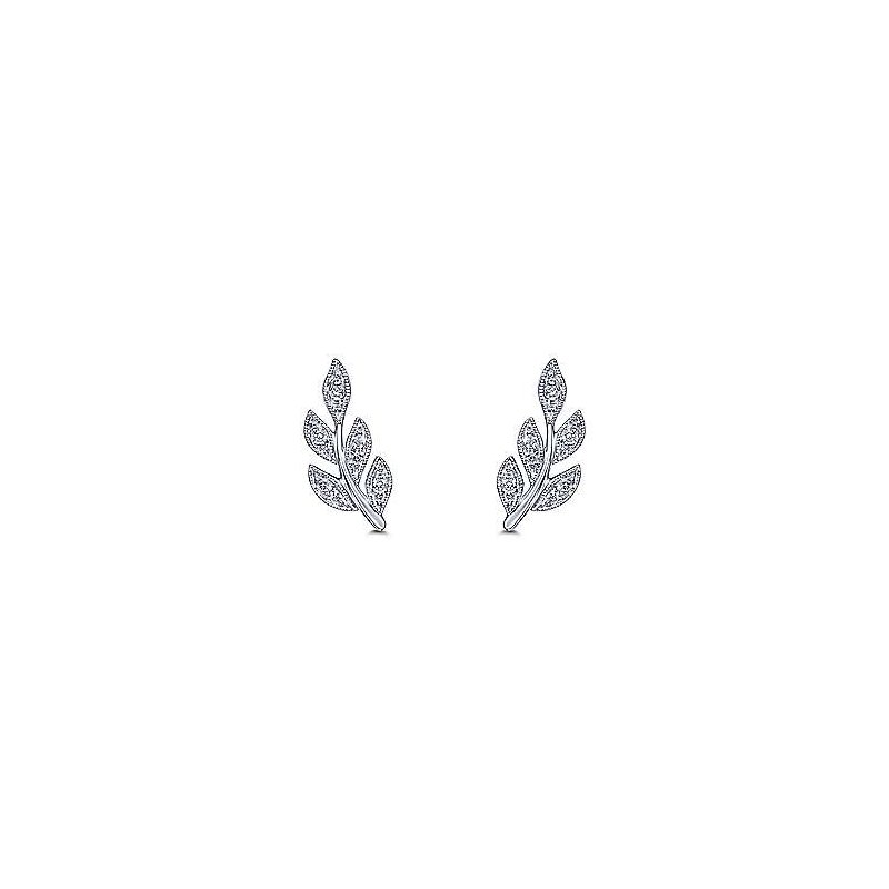 Gabriel & Co. -  IN-STORE COLLECTION Diamond Leaf Earrings