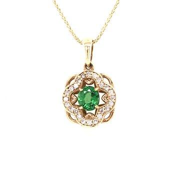 Tsavorite & Diamond Pendant