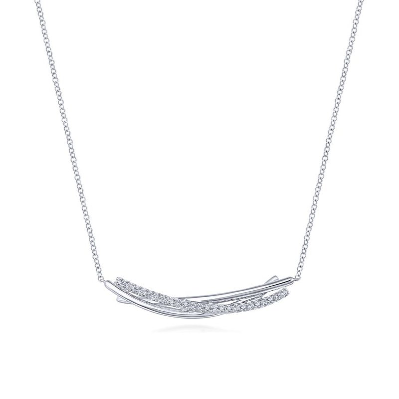 Gabriel & Co. -  IN-STORE COLLECTION White Sapphire Bar Necklace