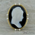 B&C Estate Collection Black Onyx Cameo Brooch