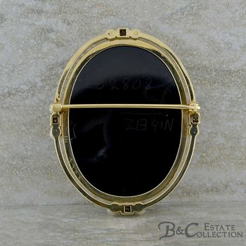Black Onyx Cameo Brooch