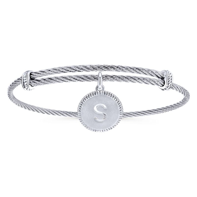 """Gabriel & Co. -  IN-STORE COLLECTION Initial """"S"""" Charm Bangle"""