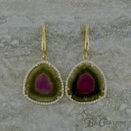 B&C Creations Watermelon Tourmaline Earrings