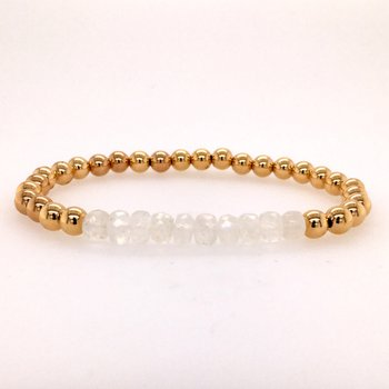 5mm Yellow Gold Filled and Moonstone Bead Bracelet