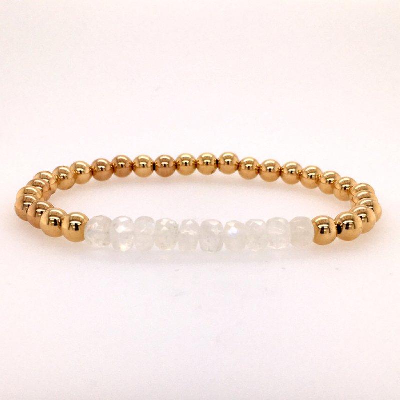 Karen Lazar 5mm Yellow Gold Filled and Moonstone Bead Bracelet