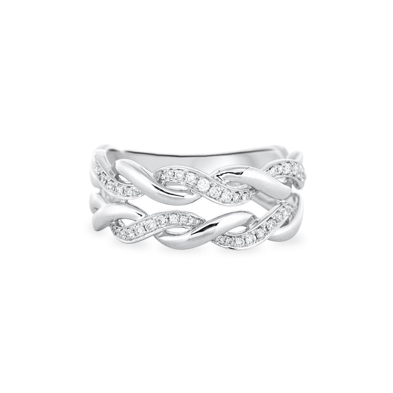B&C Collections Double Twisted Diamond Band