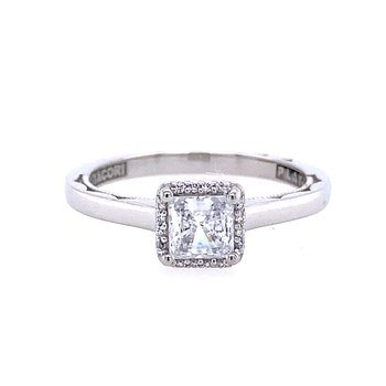 White Gold Princess Cut Halo Diamond Engagement Ring
