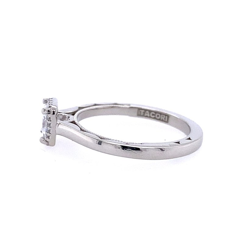 B&C Collections White Gold Princess Cut Halo Diamond Engagement Ring