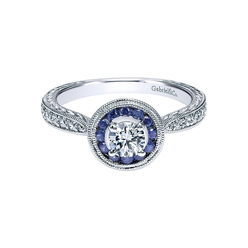 Gabriel & Co. -  IN-STORE COLLECTION Vintage Inspired 14K White Gold Round Halo Sapphire and Diamond Engagement Ring